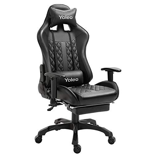 YOLEO Gaming Stuhl, bequemer Gaming Sessel 150 kg Belastbarkeit, Kunstleder PC Stuhl drehbar höhenverstellbar Gaming Chair mit Kopfstütze und Fußstütze (Pures Schwarz)