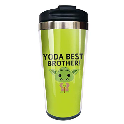 Hasdon-Hill Funny Travel Mugs For Women Men Dad Mom Yo-da Best Brother Coffee Mug Tea Cup Stainless Steel Mug For Cute Star Fans Friends Birthday Christmas Gifts 12 Oz