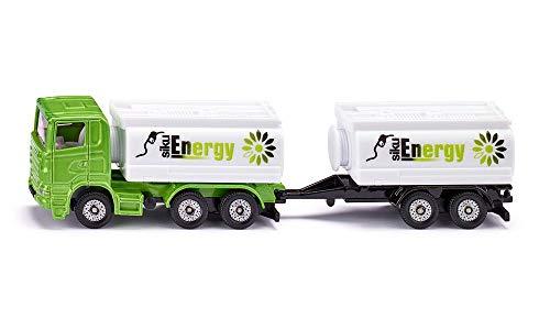 SIKU 1690, LKW mit Tankwagenaufbau und Anhänger, Metall/Kunststoff, Grün/Weiß, Mit Tandemachse, Kombinierbar mit SIKU Modellen im gleichen Maßstab