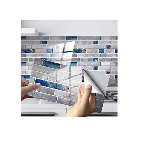 Pegatinas para azulejos, paneles de pared 3D, decoración de azulejos, pegatina de cristal, adhesivo para piso, adecuado para sala de estar, cocina, cuarto de baño 030_48 piezas