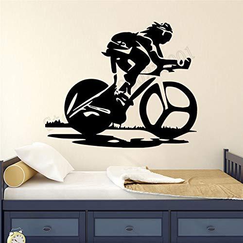Fahrrad Rennen Wanddekoration Vinyl Kunst entfernbares Plakat Fahrrad Sport Junge Zimmer Wandbild Wandaufkleber 57x68 cm