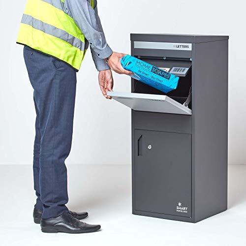 Große Smart Parcel Box, Paketbriefkasten mit Paketfach und Briefkasten, sicherer Paketkasten für Zuhause und Unternehmen mit Rückholsperre, Entnahme hinten & vorne, 42 x 39 x 103 cm, antthrazit-grau