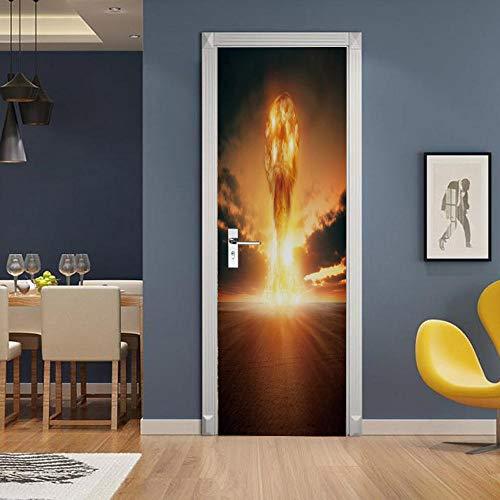 Gzltd Adhesivos para puertas Erupción Volcánica 3D Papel pintado PVC Impermeable y a prueba de aceite,adecuado para decoración de puertas sala de estar,dormitorio,cocina y baño 77x200cm