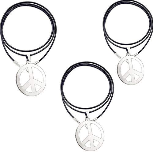 PPX 3 Stück Peace Sign Silbermetall mit Lederkette zum Aufhängen als Halskette, 1960er Jahre der Hippie-Partyzubehör-Halskette