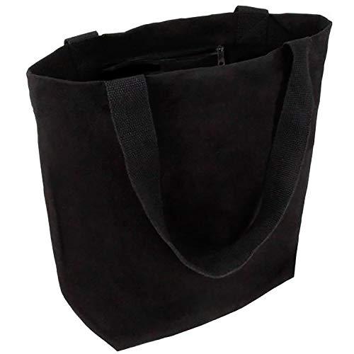 Cottonbagjoe stylische geräumige Tragetasche | mit Innentasche, Reißverschluss, und großem Boden | 1 Stück, Schwarz | Baumwolltasche Stofftasche Shopper Handtasche | Öko-Tex 100 Standard Zertifiziert