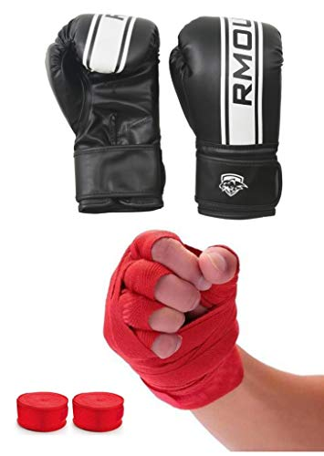 IWIN OUR Black Boxing Gloves for Training & Muay Thai | Maya Hide Leather Gloves for Sparring, Kickboxing, Fighting, Punch Bags with Red Hand Wraps(Boxing Tape)