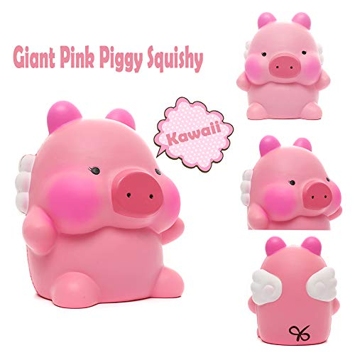 Sinofun 9 Inch Cute Pink Piggy Squishy, with White Wing, Giant Animal Squishies Package, Slow Rising Stress Reliever Squeeze Toys, Birthday Gifts for Girls/Kids