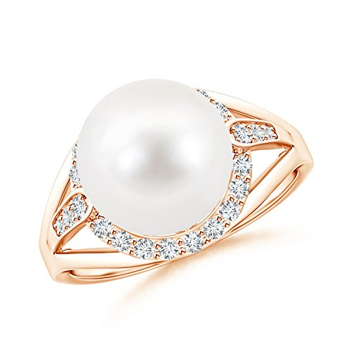 Black Friday Gift - FreshWater Cultured Pearl Split Shank Ring for Women with Diamond Halo in 14K Rose Gold (Pearl Size - 10mm)
