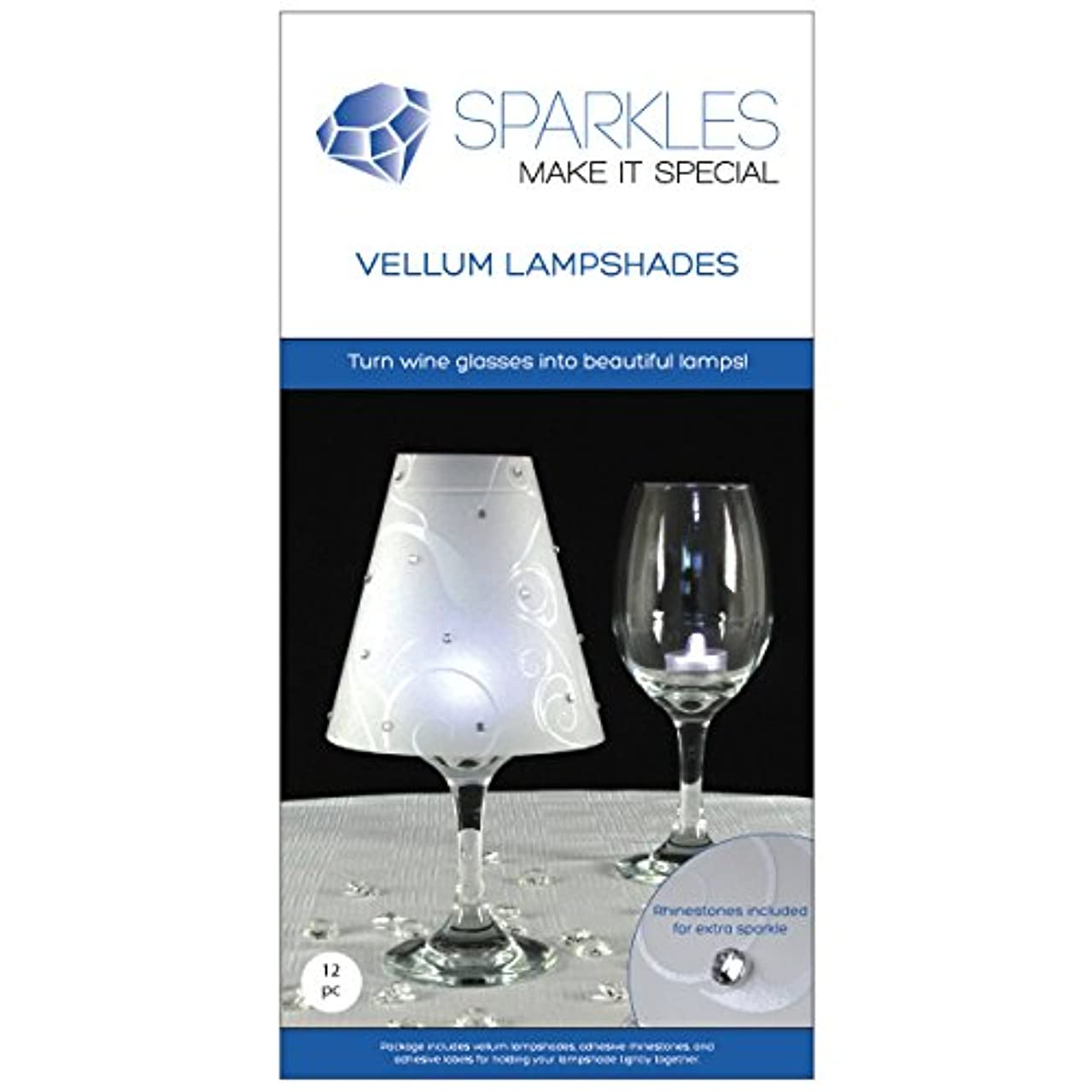 Sparkles Make It Special 12 pc Wine Glass Lamp Shades with Rhinestones - Wedding Party Table Centerpiece Decoration - White Vellum Swirl Print