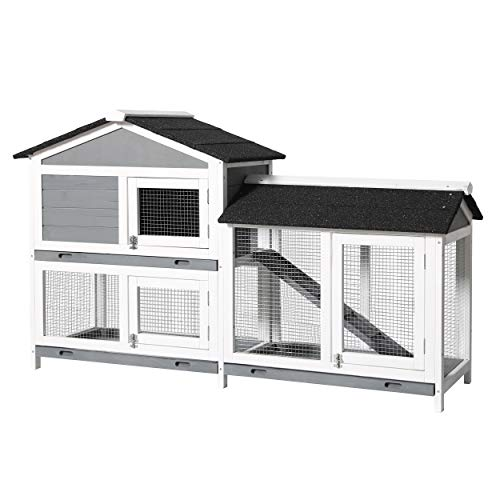 MUPATER Raised Rabbit Hutch Bunny Cage for Outdoor and Indoor, Wooden Guinea Pig House with Run, Ramp and Removable Trays, Grey