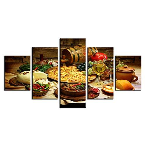 TIANJJss 5 canvas prints wooncultuur schilderij moderne wandkunst frame restaurant keuken modulaire poster beelden 5 stuks eten en dranken HD bedrukt canvas