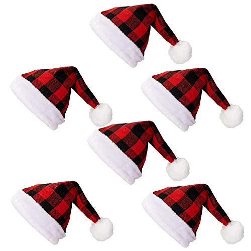 6 Pack Santa Hat Buffalo Plaid, Red and Black Plaid Santa Hat Great for Men Women and Kids, One Size Fits All, Santa Hat Bulk for Christmas Party and Holiday Event