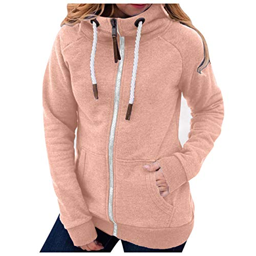 Abrigos De Invierno para Mujer 2020 Chaquetas De Moda De Color Sólido con Bolsillos con Cremallera Sudadera con Cordón Abrigos De Manga Larga Blusas Sueltas