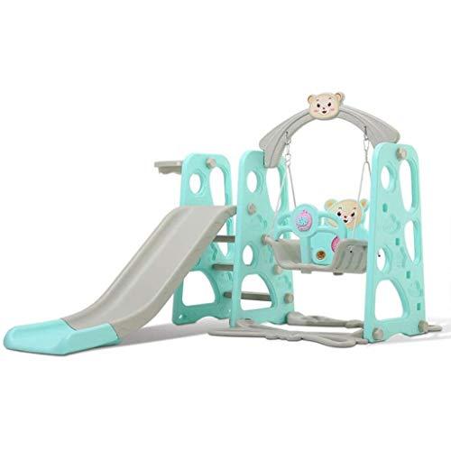 MCY 4 en 1 juego de escalador y columpio con aro de baloncesto extraíble, diapositiva larga, escalera de fácil escalada, área de juego para niños para exteriores e interiores