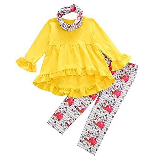 Camisa Amarilla de Manga Larga para NiñOs + PantalóN con Estampado de Calabaza de Halloween + Traje de 3 Piezas con Diadema