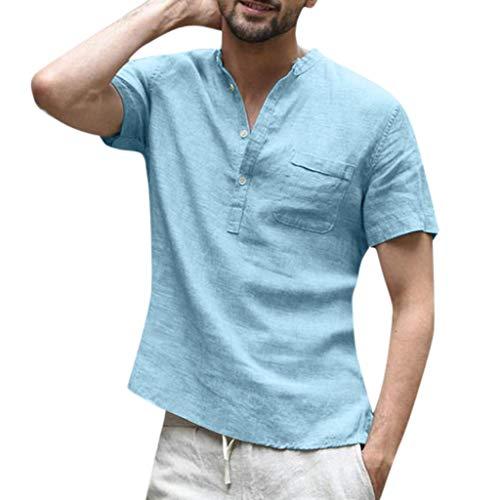 FRAUIT Camicia Uomo Coreana Elegante Camicia Ragazzo Lino Camicie Uomini Particolari con Bottoni sul Colletto Retro Tops T Shirt Vintage Maglietta Scollo V Magliette Manica Corta