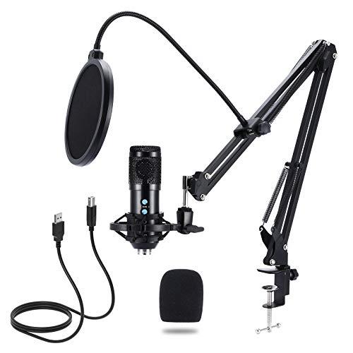 Micrófono de Condensador, NANIWAN Kit de Micrófono USB para PC con Soporte de Micrófono, Filtro Pop, Soporte de Choque, Adecuado para Juegos PS4 PS5, Transmisión, Podcast, Grabación de Música, YouTube