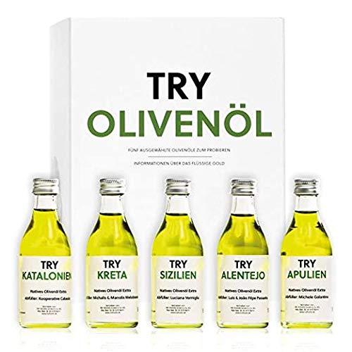 Try Foods Olivenöl-Geschenkset, 5 x 50 Milliliter Natives Olivenöl