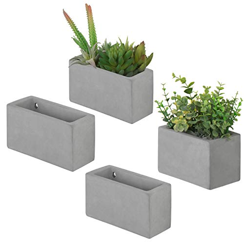 MyGift Modern Cement Wall Hanging Succulent & Herb Planter Boxes, Set of 4