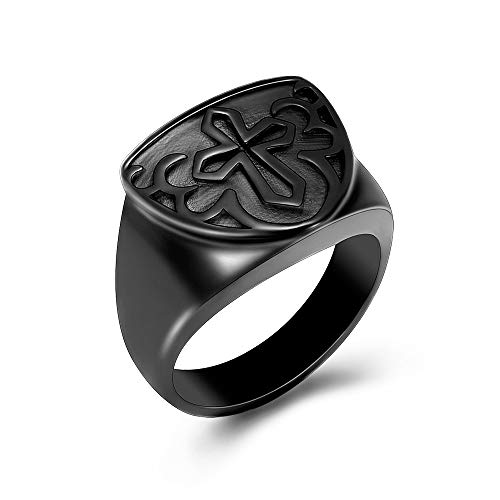 shajwo Cremation Urn Ring Jewelry for Ashes Cross Memorial Keepsake Urn Ring Celtic Knot Retro Ashes Holder Jewelry for Women Men,Black 9