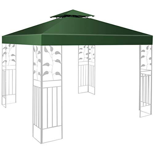 RELAX4LIFE Pavillondach Ersatzdach, Pavillonplane Wasserabweisend, Dachplane Kaminabzug, Doppeldach, 3 x 3 M, Farbewahl (Dunkelgrün)