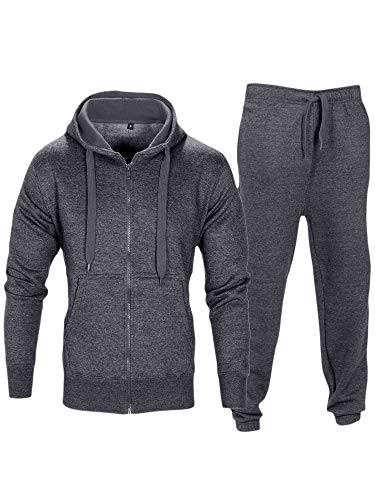 Love My Fashions Mens Tracksuit Set Kids Contrast Cord Fleece Hoodie Top Bottoms Jogging Zip Joggers Gym Causal Exercise Running Sport Sweat Suit Pants Plus Size S M L XL XXL Charcoal