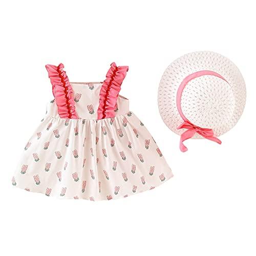 WOYAOFEI Mädchenkleider Kinderkleidung Rock mit Erdbeer-Tupfenmuster, süßer Weste-Rock mit Revers-Krawattentasche Nettes Prinzessinkleid mit Spitzen-Hosenträgern und Strandhut Gestreifte Krawatte