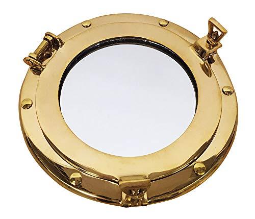 zeitzone Bullauge Spiegel Nautik Messing Maritim Schiff Nostalgie Antik-Stil 20cm rund