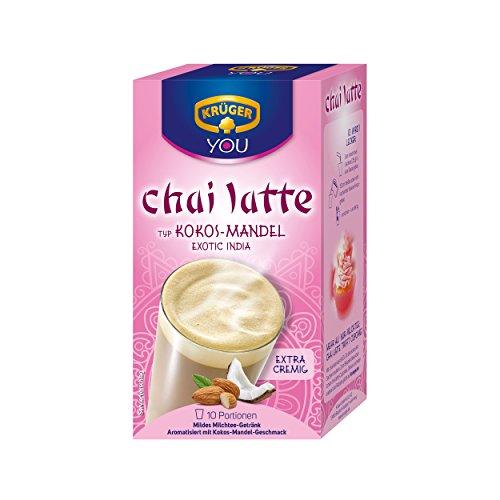 Krüger Chai Latte Exotic India, Kokos-Mandel, mildes Milchtee Getränk, 10 Portionsbeutel