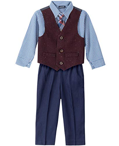 IZOD Baby Boys 4-Piece Set with Dress Shirt, Pants, Tie, and Vest, Navy/Burgundy, 12 Months