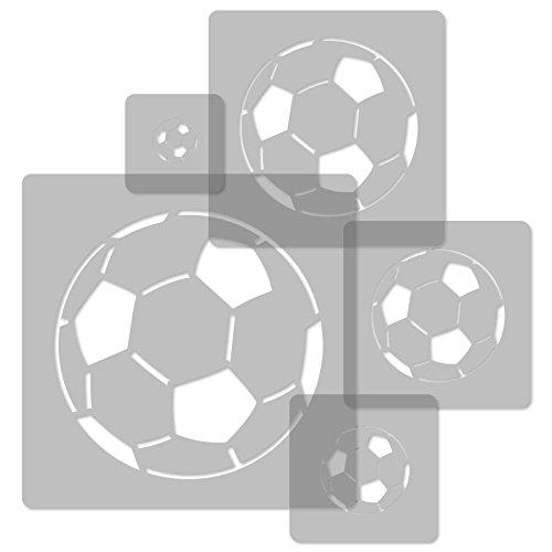 5 Stück wiederverwendbare Kunststoff-Schablonen // Fußball Bälle // 34x34cm bis 9x9cm // Kinderzimmer-Dekorarion // Kinderzimmer-Vorlage