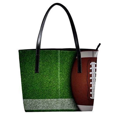 TIZORAX American Football On Playground Damen-Handtasche aus PU-Leder