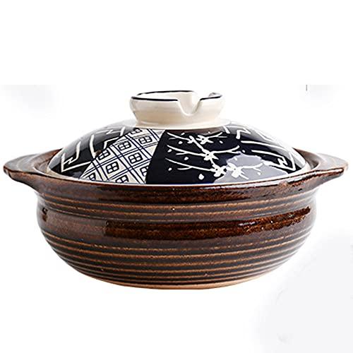 Lera matlagningsgryta gammaldags lergods kruka för grytor gryta krukor randiga svart-2 L
