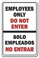 従業員はバイリンガルのスペイン12 X 8アルミロゴにはアクセスしません
