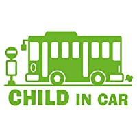 imoninn CHILD in car ステッカー 【シンプル版】 No.61 バス (黄緑色)