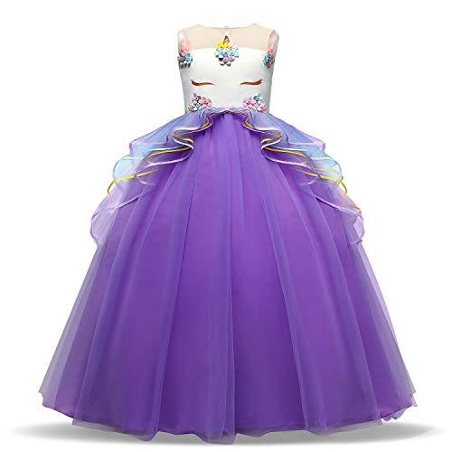 TTYAOVO Vestido Elegante de Fiesta Ceremonia para Niñas Vestido Formal de Niña Bautizo Princesa Boda Vestido de Cumpleaños