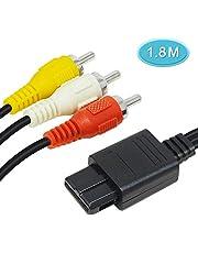 6amLifestyleN64 AV ステレオ ケーブル スーパーファミコン / ファミコン / ニンテンドー64 / ゲームキューブ/スーファミ用 1.8M