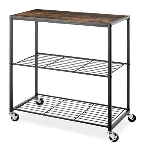 Whitmor Modern Industrial Rolling Storage Shelves, Brown