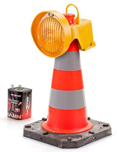 UvV CONY Synchron Leitkegel Aufsteck Warnleuchte Blinkleuchte gelb inkl. Leitkegel 50 cm - 2,5 kg Bigfoot Teilreflex (1)