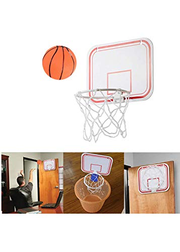 Portable Basketball Hoop Kits for Adults and Kids, Mini Basketball Backboard and Rim Combo, 3 Ways of Installation - Suspension & Suction Cups & Clip, Foldable Basketball Frame, (White)