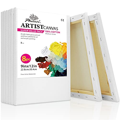 PHOENIX White Blank Cotton Stretched Canvas Artist Painting - 9x12 Inch / 8 Pack - 5/8 Inch Profile Triple Primed for Oil & Acrylic Paints