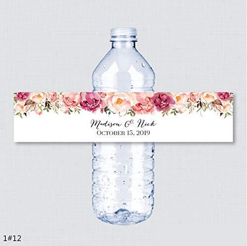 300PCS Nome personalizzato Etichette per bottiglie di acqua per matrimoni Ragazza Festa di compleanno Rustico Fiore rosa Etichette per bottiglie di acqua personalizzate Decorazione 300