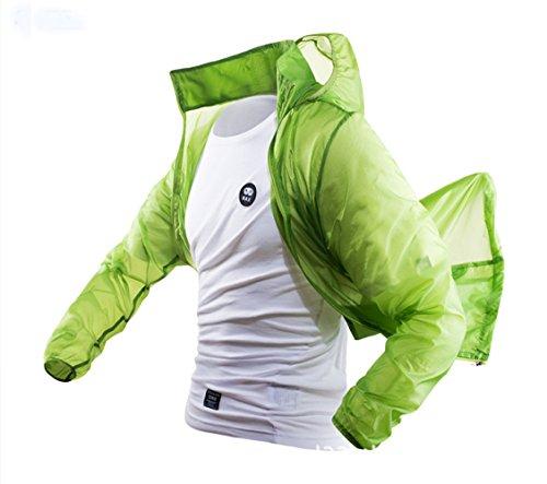 DYY Männer und Frauen Sommer Sonnenschutz Kleidung Ultra-Dünne Sonnencreme Kleidung Einfarbige Haut Windbreaker,Grün,M