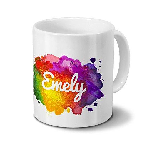 Tasse mit Namen Emely - Motiv Color Paint - Namenstasse, Kaffeebecher, Mug, Becher, Kaffeetasse - Farbe Weiß