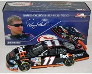 Denny Hamlin #112006 Rookie Of The Year FedEx Express Monte Carlo SS 1:24 Scale Die Cast Car With Yellow Rookie Stripes on Bumper Hood Opens Trunk Opens HOTO Motorsports Authentics (AKA Action Racing Collectables) Rookie of Year Logo on Trunk Lid