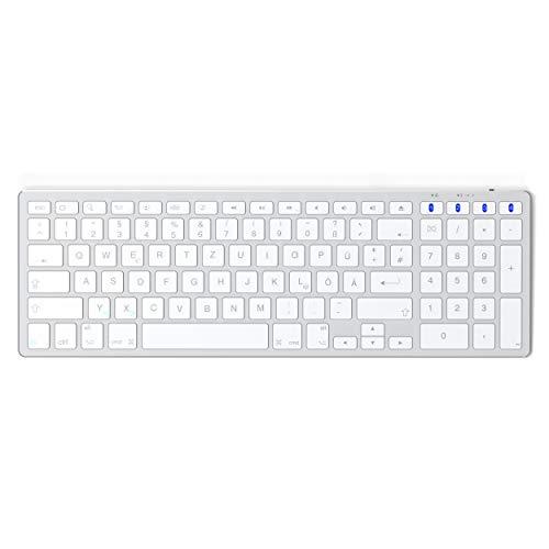 SATECHI Schmale Bluetooth Tastatur aus Aluminium mit Numerischem Keypad Silber