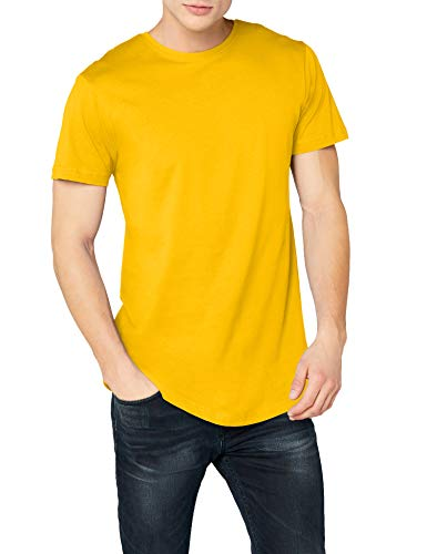 Urban Classics Shaped Long tee Manga Corta con Talle Largo, Camiseta Lisa, Básica Fácilmente Combinable, Versátil y Cómoda, chrome yellow, 2XL para Hombre