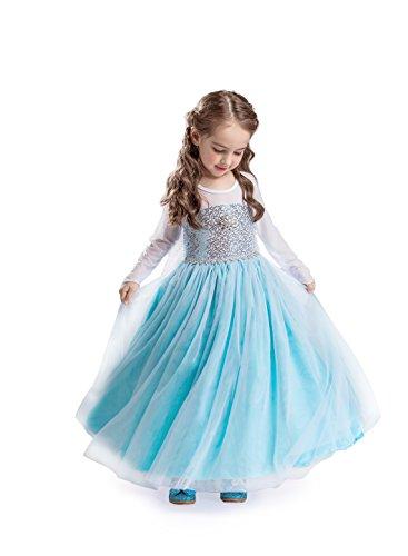 ELSA & ANNA® Mädchen Prinzessin Kleid Verrücktes Kleid Partei Kostüm Outfit DE-FR200 (5-6 Jahre, FR200)