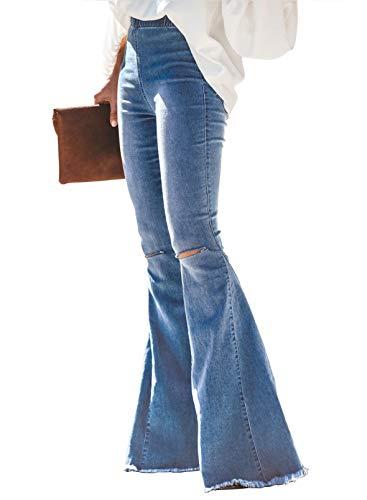 Sidefeel Women Destoryed Flare Jeans Elastic Waist Bell Bottom Tassel Denim Pants Large Light Blue