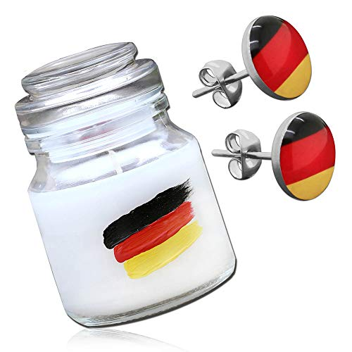 tumundo Fashion Candle Weltmeister Fußball Ball Schmuck-Kerze Juwel Duftkerze Deutschland Ohrstecker Fakeplugs Kette, Variante:Ohrstecker